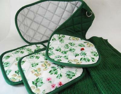 5-pc Pot Holders, Double Oven Mitt & Dish Wash Cloths CALLAWAY Green Ivy Ladybug