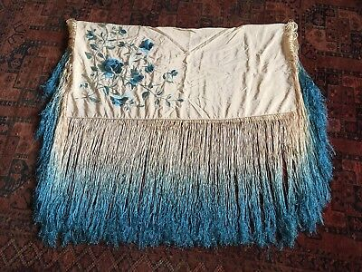Vintage Silk Flamenco Shawl with amazing Peacock Blue Hand Embroidery.