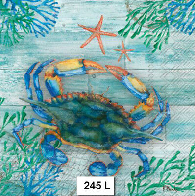 (245) TWO Individual Paper Luncheon Decoupage Napkins - CRAB STARFISH OCEAN SEA