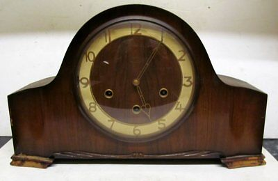 Vintage Smiths Mahogany Cased Westminster Chimes Mantel Clock & Key