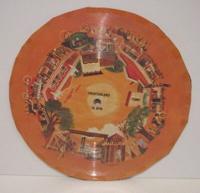 """Disney Vintage 6.75"""" Cardboard 78 Rpm Record Frontierland Poss From Cereal Box?"""