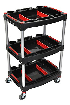 "Luxor Rolling 3 Shelf Mechanics Tool Storage Utility Cart with 3"" Casters -"