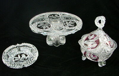 Antique German Hofbauer Etched Bird Lead Crystal Lot Ashtry Platter Covered Dish