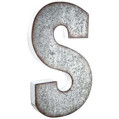 """Large 20"""" Silver Galvanized Vintage Metal Letter & Marquee """"S"""". Monogram."""