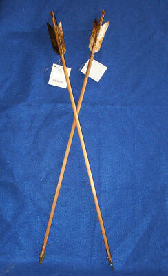 """2 Native American made Arrows 24"""" L Brown & White Feathers Stone Arrowheads"""