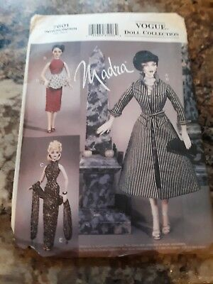 """UNCUT Vogue Sewing Pattern #7601 Doll Collection Madra 15 1/2""""2002 Circa 1940's"""