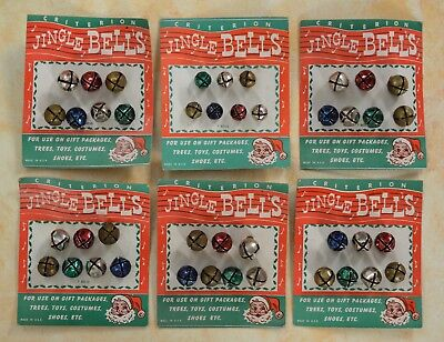 Vintage 1950's Criterion Christmas Jingle Bells ~ 42 Bells 6 Cards Multicolor