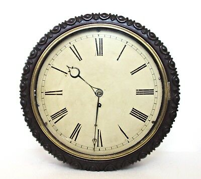 "Antique Victorian Fusée School/railway Carved Wall Clock 12"" Dial /15"" Works"