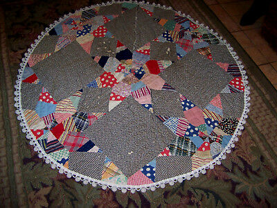 Antique Vintage Primitive Farmhouse Country Quilt Christmas Tree Skirt