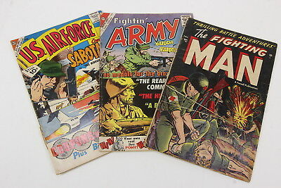 Fighting Man #2 1952, Fightin Army #36 1960, US Air Force #15 1961 Comic Books