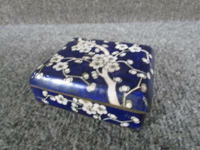 Antique Chinese Blue & White Floral Cloisonne Jewelry Ring Trinket Box