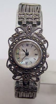 New Solid Stirling Silver Ladies Watch with Marcasites Stones in Antique Finish