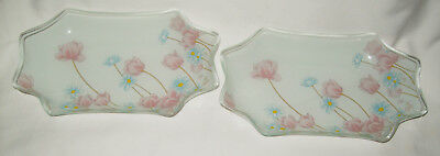 Elegant Fine Glass Unusual Shape Two Plates Pastel Flowers Motif