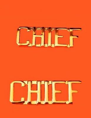 Chief Collar Pin Set Cut Out Letters Fire Dept Police Military Rank Gold 2418