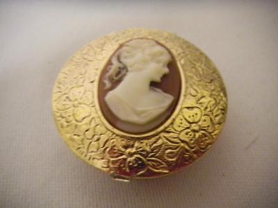 Floral TEXTURED Gold Tone Metal CAMEO Hinged Pill Box TWO Compartment insert