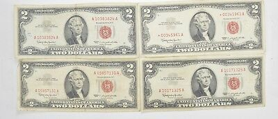 Lot (4) Red Seal $2.00 US 1953 or 1963 Notes - Currency Collection *528