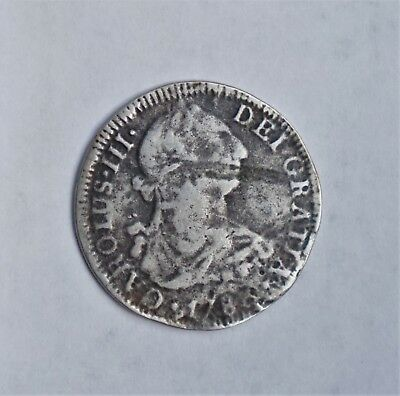 1786 2 Reale Bust King Charles III Colonial Silver Scarce Coin