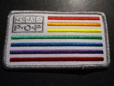 SUB POP RECORDS Embroidered Patch RAINBOW FLAG SEATTLE LOGO pearl jam nirvana
