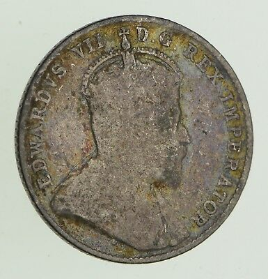 Roughly Size of Dime - 1905 Canada 10 Cents - World Silver Coin *632