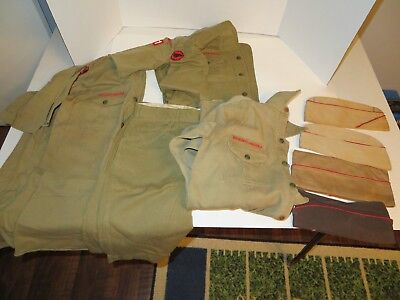 Vintage Boy Scout Uniform-Caps/Hats Shirts Shorts (Button Fly) w/Some Patches