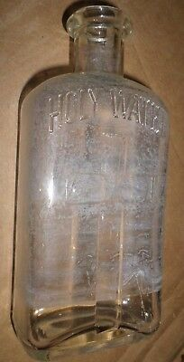 Antique Holy Water Bottle, A Cross Pertruding From Side, Ihs, Cork Top,