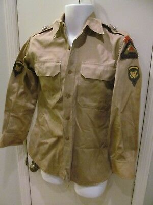 WWll US Army Khaki uniform shirt E5 specialist 7 steps to Hell patches