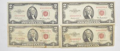 Lot (4) Red Seal $2.00 US 1953 or 1963 Notes - Currency Collection *523
