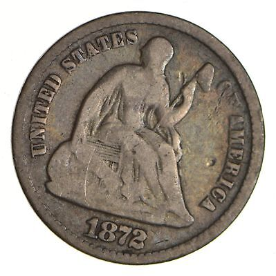 5c ***1/2 Dime** - 1872 Seated Liberty Half Dime - Early American Type Coin *974