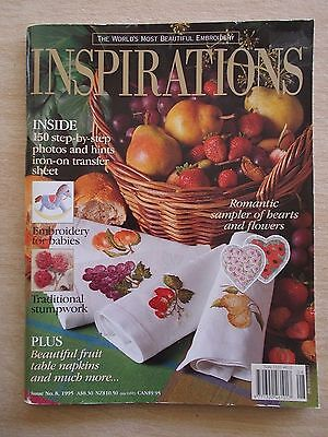 Inspirations #8~Embroidery Projects~Fruit~Hearts & Flowers Sampler~Stumpwork...