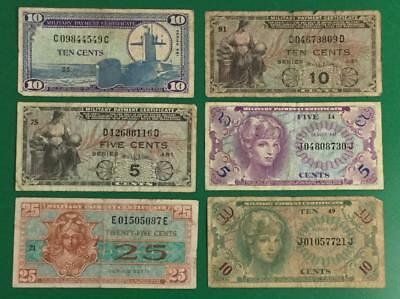Military Payment Certificate Set of 6 MPCs! Old US Paper Money Currency