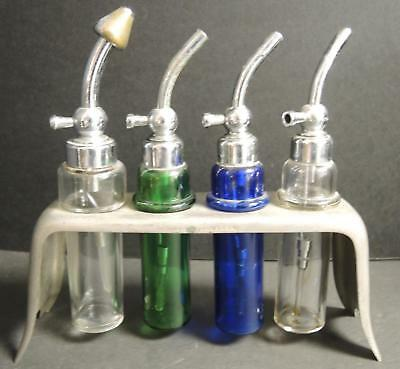 Early 1920s Dentist Glass Suction & Irrigation Tubes With Chrome Holder