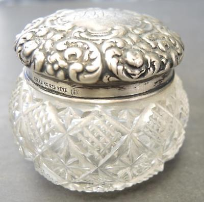 "Antique Unger Bros Sterling & Cut Glass 1 3/4"" Tall Vanity Jar With Monogram"