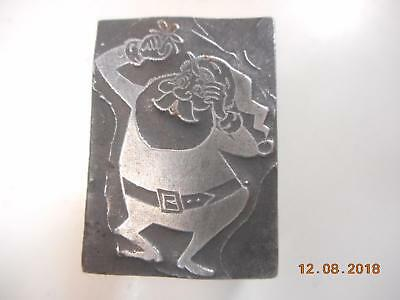 Printing Letterpress Printer Block, Santa Holding Mistletoe Printer Cut