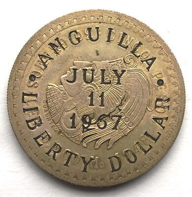 Anguilla 1967 Mexico Indian Chief Liberty Dollar Silver Coin