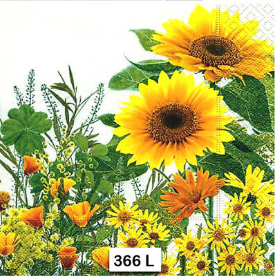 (366) TWO Individual Paper Luncheon Decoupage Napkins - SUNFLOWERS FLOWERS