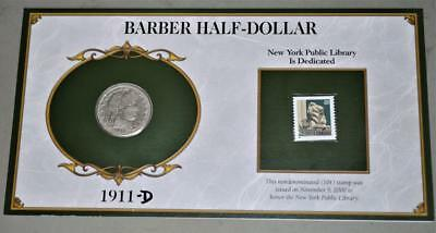 1911-D Barber Half Dollar Silver Coin With Stamp On Card
