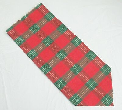 Christmas Table Runner Red and Green Plaid Gold Threads 12 x 62 Handcrafted Exc
