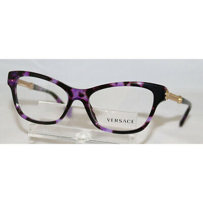 Versace Cat Eye Violet Havana Filigree Gold Mod eglasses VE 3214 5152 Frame 52mm