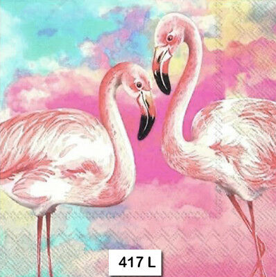 (417) TWO Individual Paper Luncheon Decoupage Napkin - WATERCOLOR PINK FLAMINGOS