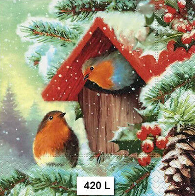 (420) TWO Individual Paper Luncheon Decoupage Napkins - ROBINS BIRDHOUSE WINTER