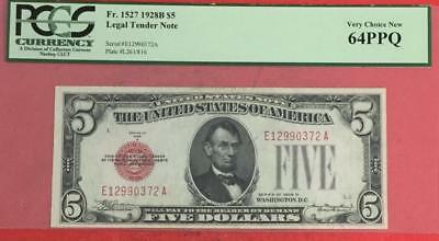 1928B $5 RED US Legal Tender PCGS Very Choice New 64 PPQ Certified! Beauty