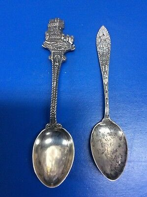 Lot of 2 Vintage Sterling Silver Souvenir Spoons Hawaii & Portugal