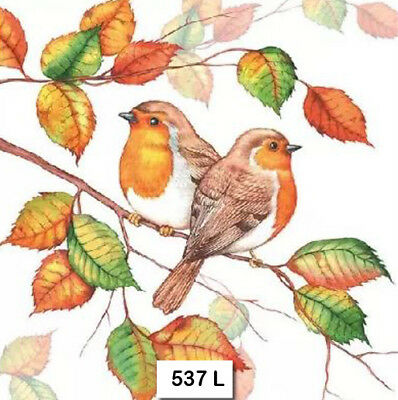 (537) TWO Individual Paper Luncheon Decoupage Napkins BIRDS ROBINS AUTUMN LEAVES