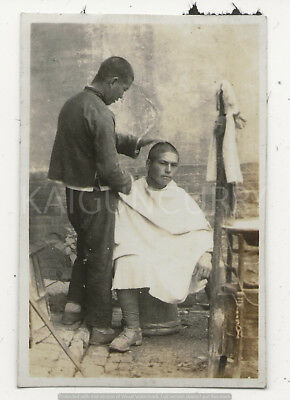 Original Wwii Japanese Photo: Army Officer Getting Haircut In China!!