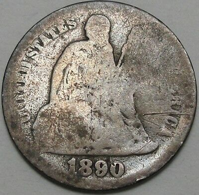 1890 10C Seated Liberty Dime, Toned, Early Dime, 90% Silver, #2406