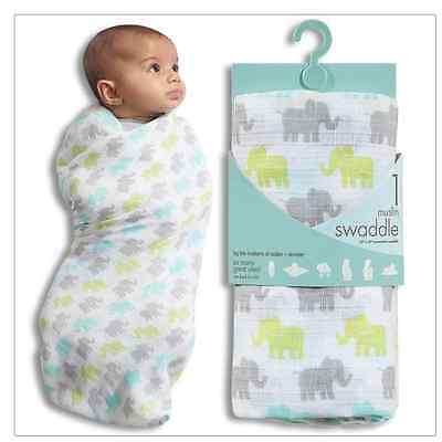 Aden & Anais Muslin Swaddle Blanket NWT Elephant Motif  Baby Shower Gift