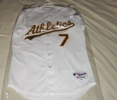 Oakland Athletics A's Bobby Crosby PRO Authentic  MLB White Button-Down Jersey