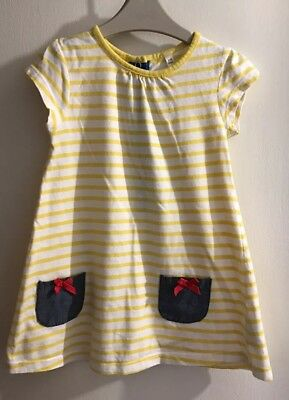 BHS Baby Girls Yellow & White Striped Short Sleeved Dress. Age 9-12 Months