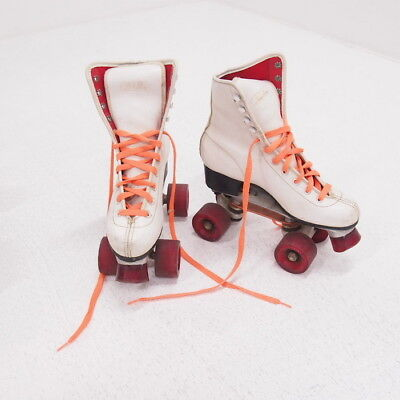 Retro Red Stone Ladies Girls White Lace Up Roller Skates Size 5 #305