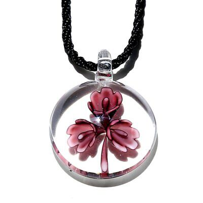 Round Flower Petal Murano Lampwork Glass Pendant Necklace Jewelry Family Gift
